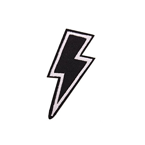 Lighting Bolt (Black Lighting Patch for Clothing, Pack of 3, U-Sky Iron on Patches Sew on Appliques for Jeans, Jackets, Backpacks, Vest, Caps)
