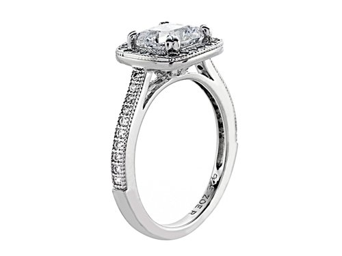 Zoe R Sterling Silver Micro Pave Hand Set Cubic Zirconia Halo 6mm Cushion Cut Center Wedding Set Size 6 by Zoe R (Image #2)