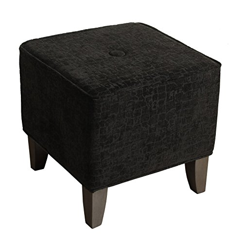 Kinfine HomePop Upholstered Cube Ottoman, Black and Tan