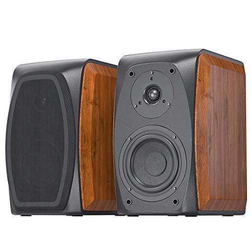 Fosi Audio Bookshelf Speakers Passive Wooden Hi-Fi Speakers 5-Inch 2.0 for TV Desktop Shelf Home Theater Surround System DK560-N