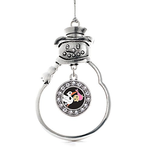 Inspired Silver - Stork Brings A Girl Charm Ornament - Silver Circle Charm Snowman Ornament with Cubic Zirconia Jewelry