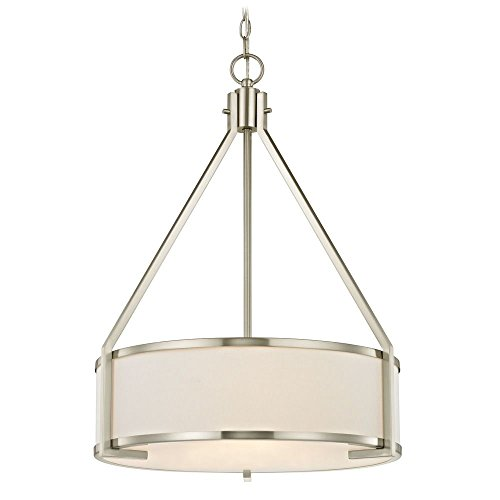 (Design Classics Camden Satin Nickel Pendant Light with Drum Shade)
