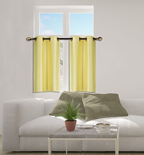 "Elegant Home 2 Panels Tiers Grommets Small Window Treatment Curtain Faux Silk Insulated Blackout Drape Short Panel 30""W X 36""L Each for Kitchen Bathroom or ANY Small Window # D24 (Yellow)"