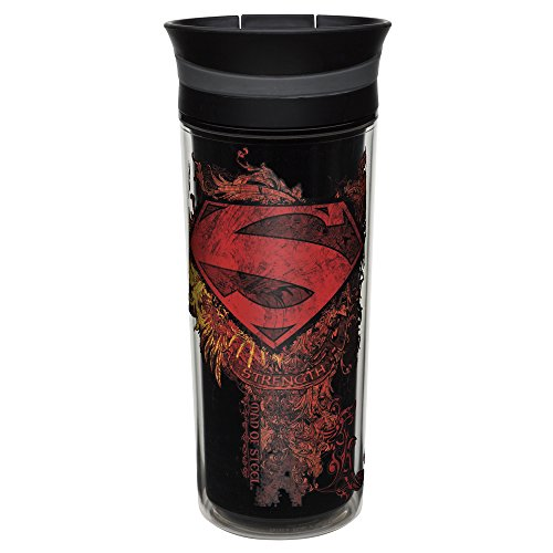 Zak! Designs Insulated Travel Tumbler featuring DC Comics Retro Superman Graphics, BPA-free and Break-resistant Plastic, Double Wall Construction and Leak-proof Slide Lid, 16 oz. Capacity
