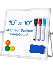 """Small White Board, Ohuhu 10""""X10"""" Double-Side Magnetic Desktop Whiteboard with Stand, 3 Markers, 3 Magnets & Eraser - Tabletop Portable Mini White Board Easel for Office Desk, Back to School for Kids Students, Thanksgiving Day Gift Idea"""