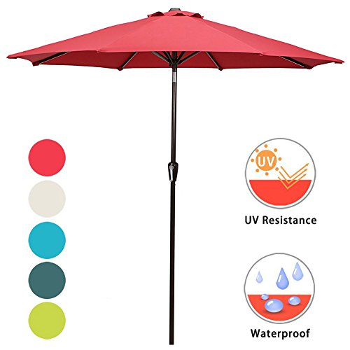 DOMI OUTDOOR LIVING Patio Umbrella, 9' Outdoor Table Market Umbrella with Push Button Tilt/Crank, 8 Ribs, Red by (9' Outdoor Square Patio Market)