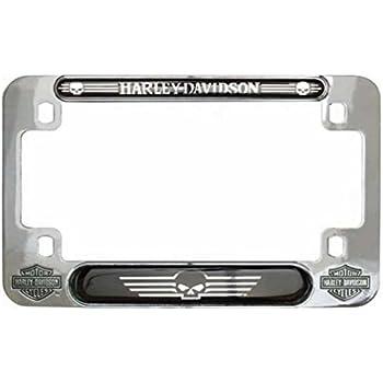 7.5 x 4.75 inches MF119980 Harley-Davidson Skull Nickel Motorcycle Plate Frame