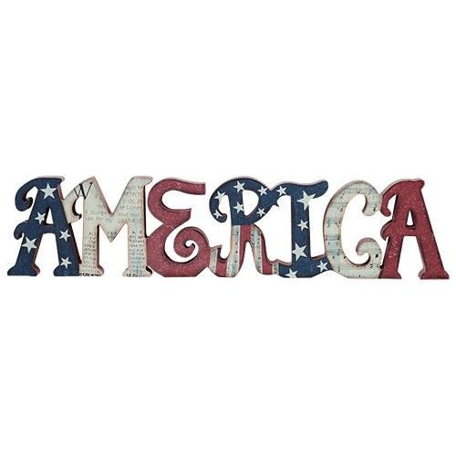 Painted Wood AMERICA Table Sign - USA Patriotic Letter Art Gift ()