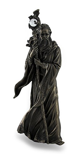 11.75 Inch Cold Cast Bronze Color Merlin Figurine Statue Home Decor