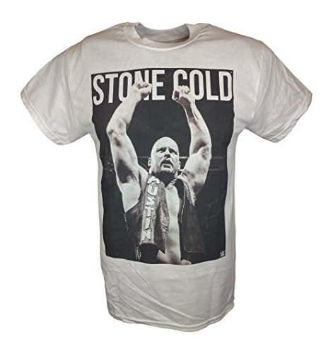 Stone Cold Steve Austin Arms Raised WWE Mens White T-shirt-L by WWE