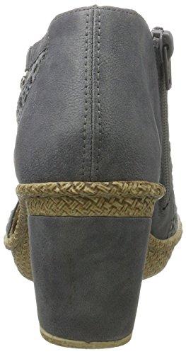 Rieker 66578, Sandalias con Cuña para Mujer Azul (Jeans/azur/altsilber / 15)