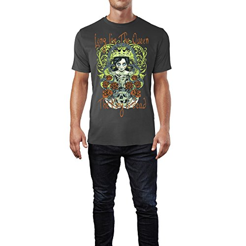 Sinus Art ® Herren T Shirt Long Live the Queen ( Smoke ) Crewneck Tee with Frontartwork