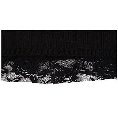 TOOGOO (R)Femmes pull en tricot dentelle lache decontracte robe Long Cardigan pull L-noir