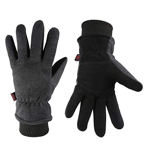 (OZERO Work Gloves -30°F Coldproof Winter Ski Snow Glove - Deerskin Leather Palm & Polar Fleece Back with Insulated Cotton - Windproof Water-resistant Warm hands in Cold Weather for Women Men - Gray(M))