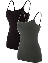 b62eae4d80a65e Women s Cotton Camisole Shelf Bra Spaghetti Straps Tank Top 2 Packs