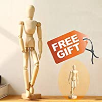 Wooden-Drawing-Mannequin-Figure-Art-Model posable Manikin for Artist 12 Inch and 4.5 Inch Set