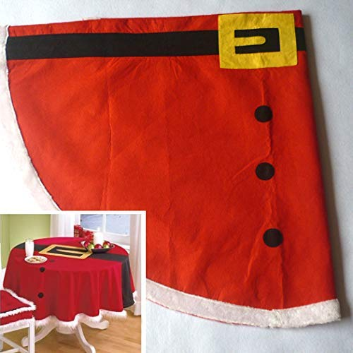 Zoylink Aniwon 58-Inch Christmas Round Tablecloth Santa Claus Clothes Pattern Table Cover ()