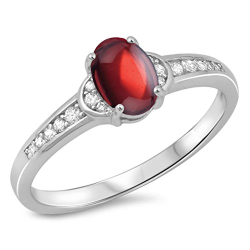 - 925 Sterling Silver Cabochon Natural Genuine Red Garnet Oval Ring Size 7