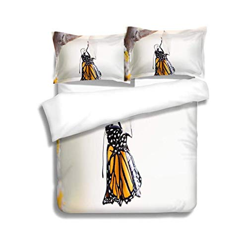 VROSELV-HOME Bedding Sets Duvet Cover Set,Monarch Butterfly Two Minutes After Emerging from Cocoon,Soft,Breathable,Hypoallergenic,Bedding Set for Kids,Boys and Teens