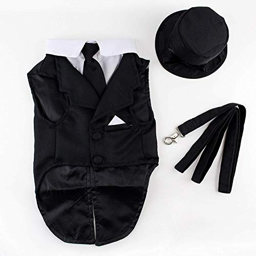 Midlee Dog Tuxedo Wedding Suit- Black Top Hat & Leash (XXX-Large)