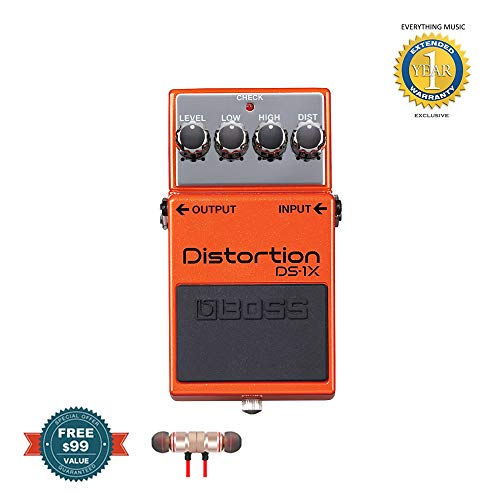 Boss DS-1X Distortion Guitar Effects Pedal includes Free Wireless Earbuds - Stereo Bluetooth In-ear and 1 Year Everything Music Extended Warranty