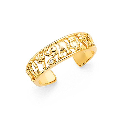 Solid 14k Yellow Gold Lucky Toe Ring Good Luck Charms Open Design Genuine One Size Fits All - Yellow Ring Tone Toe Two