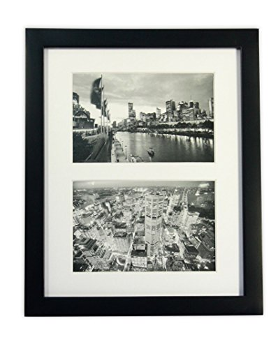 - Golden State Art, 8x10 Black Photo Wood Collage Frame with REAL GLASS and White Mat displays (2) 4x6 pictures