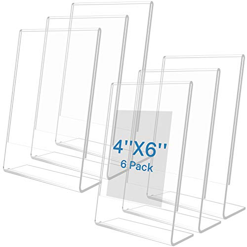 MaxGear Sign Holder 4X6 inches Slanted Acrylic Sign Holders Plastic Display Stand Clear Sign Stands Tabletop Picture Frame for Office, Store Counter, Restaurant, Exhibition, Reception-Vertical, 6 Pack