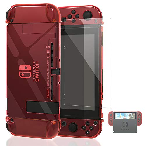 Dockable Case Compatible with Nintendo Switch,FYOUNG Protective Accessories Cover Case Compatible with Nintendo Switch and Nintendo Switch Joy-Con with a Tempered Glass Screen Protector - Clear Red