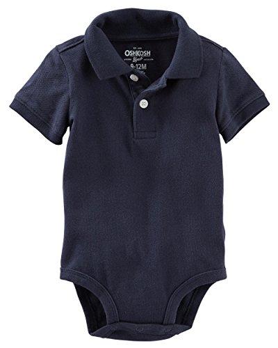 OshKosh BGosh Baby Boys Piqué Polo Bodysuit (6-9 Months, Navy)