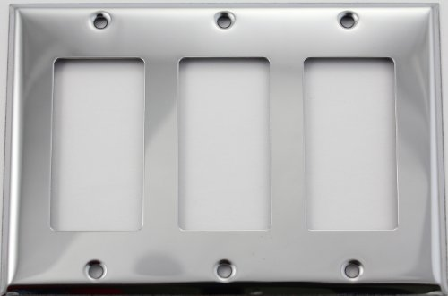 Polished Chrome Three Gang GFI/Rocker Opening Wall (Triple Gfi Switchplates)