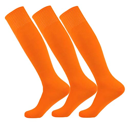Orange Large Performance Moisture Wicking Knee High Sports Socks for Baseball/Soccer/Lacrosse (3Pairs-Red/Or -