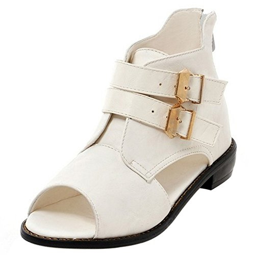COOLCEPT Damen Mode Sommer Stiefel Niedrig Absatz Cut Out Peep Toe Schuhe White