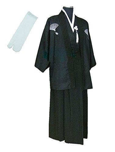 TOKYO-T Mens Japanese Kimono Samurai Costumes with Tabi Socks (M) Black -