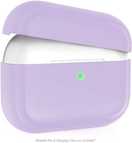 Image ofFunda Compatible con Airpods Pro, Kaliwa Airpods Pro Case Protective Silicona, LED Frontal Visible, Estuche de Silicona Cover Case para Airpods Pro (Purple)
