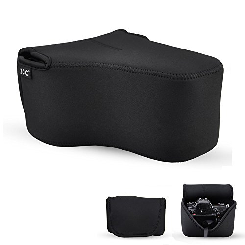 DSLR Camera Case JJC SLR Camera Pouch Bag for Canon 7D Mark II 6D 5DS R 5D III II 70D 60D Nikon D7200 D7100 D7000 D610 D600 D500 Camera with Lens less than 5.9x4.5x7.9inches with an Inner Strap-Black (Nikon D600 Camera Strap)