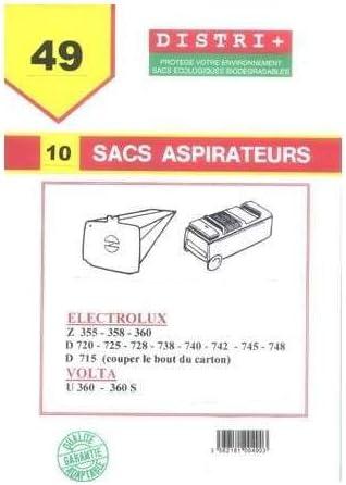 10 Sacs d'aspirateur pour ELECTROLUX: D 715 D715, D 720