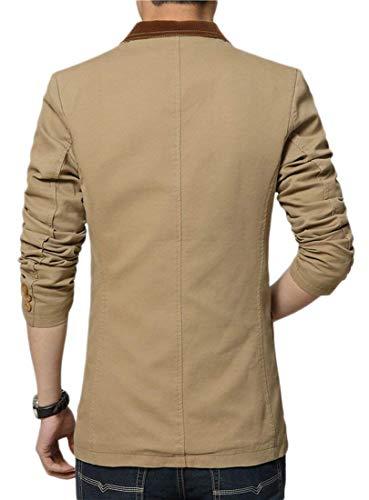 En Moderne Slim Loisir Blazer Costume Élégant Coton Veste Casua Pour Manteau Braun Fit Business Hommes Khaki qq8wU0EP