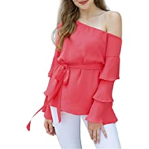 MOONHOUSE 2018 New Womens Fashion Off Shoulder Flare Sleeve Chiffon Shirt Casual Loose Tops Ladies Blouse