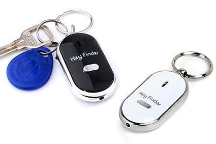 silbador, LED antip/érdida con localizador bip Lote de 2 llaveros color blanco y negro Shop Story Key Finder
