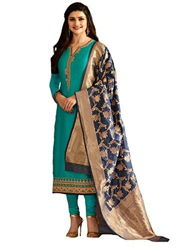Indian/Pakistani Fashion Salwar Kameez for Women (Turquoise, XX LARGE-46)