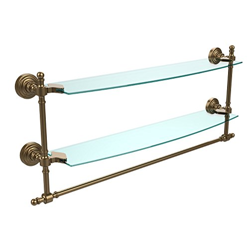 Allied Brass RW-34TB/24-BBR Retro Wave Collection 24 Inch Two Tiered Glass Shelf with Integrated Towel Bar, Brushed Bronze