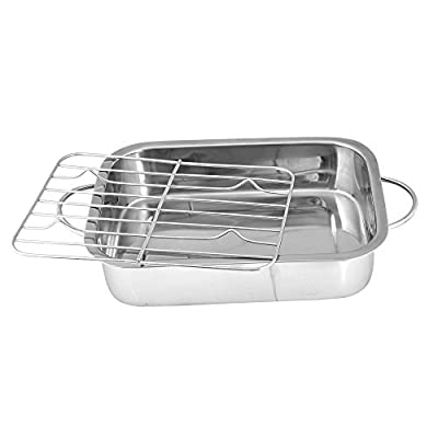 Kosma Stainless Steel Deep Roasting Pan | Baking Tray with Grill | Roasting Pan with Rack | Roaster - 25 Cm