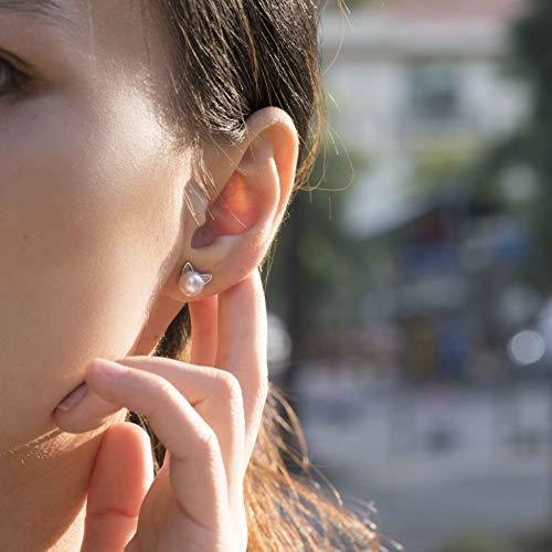 S.Leaf Cat Earrings Pearl Earrings Sterling Silver Studs Earrings for Women