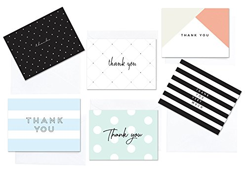 Modern Chic Thank You Cards | 36 Assorted Note Cards including Envelopes | 6 Polka Dot Striped Designs | For Bridal, Baby Showers, Graduation, Weddings, Birthday, Business & more - (ModChic-II)