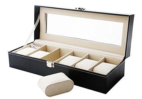 76bea5523c0d Caja de Relojes Estuche para Relojes y joyeros con 6 Compartimentos   Amazon.es  Relojes