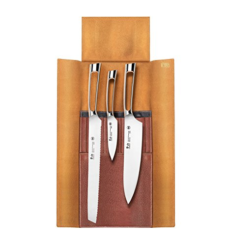 Cangshan N1 Series 59946 4 Piece Leather Roll Knife Set, Silver by Cangshan