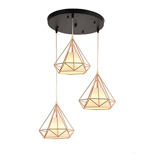(Pendant Lighting Vintage Polygon Wire Ceiling Light, Rose Gold Adjustable Chandelier Light Fixture for Kitchen Island, Living Room, Restaurants Art Decor (Design : 3-Lights Round))