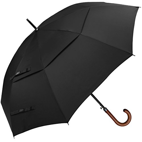 - G4Free Wooden J Handle Classic Golf Umbrella Windproof Auto Open 52 inch Large Oversized Double Canopy Vented Rainproof Cane Stick Umbrellas for Men Women (Black)