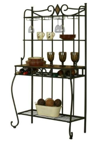 Large Bakers Rack Metal - with Wine Bottle/Glass Storage, Espresso by Large Bakers Rack
